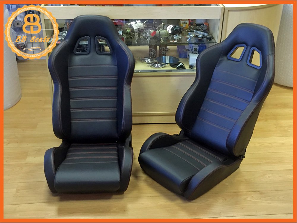 universal black reclining sports seats for classic cars. Black Bedroom Furniture Sets. Home Design Ideas
