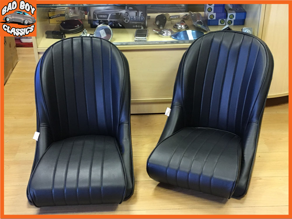 universal black leather bucket seats for classic cars. Black Bedroom Furniture Sets. Home Design Ideas