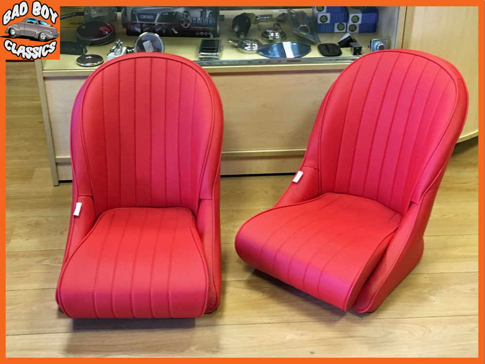Universal Black Leather Bucket Seats For Classic Cars